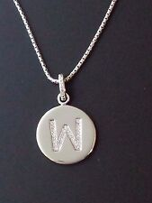 """Brand New Diamond """"W"""" Initial Pendant, Sterling Silver (.10 CT. T.W.)"""