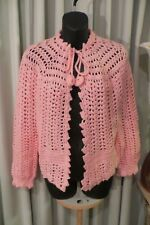 VINTAGE 50'S ~ Pink Lacey Knit ~  Crochet BED JACKET/CARDIGAN * Size M *