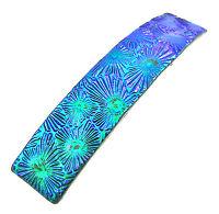 "Dichroic Hair Barrette 3.5"" 9cm Emerald Green Purple Fused Glass Floral Patterns"