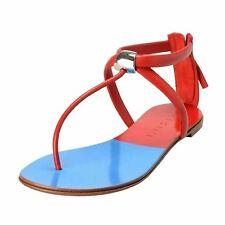 Vicini Tapeet Women's Leather T-Strap Flat Sandals Shoes US 6 IT 37