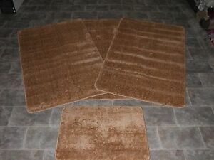 ROMANY WASHABLE GYPSY MATS 4PC TRAVELLERS SETS NON SLIP PLAIN DESIGN BROWN