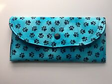 Sunglasses / Eyeglass Soft Fabric Case -Multi Paw Print- padded and lined