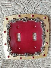 Decorative light Switch cover Red & Gold Double Toggle Switch Plate