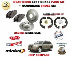 FOR JEEP COMPASS 2006->ON REAR BRAKE DISCS SET + PADS SET + HANDBRAKE SHOES KIT