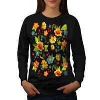 Wellcoda Cute Flower Womens Sweatshirt, Pattern Casual Pullover Jumper