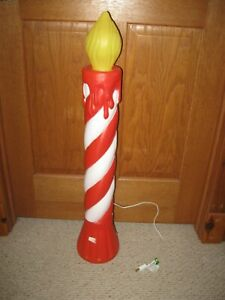 """VINTAGE UNION BLOW MOLD Striped CANDLE  Christmas 35""""   #2"""