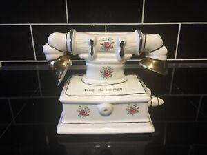 Vintage Arthur Wood Porcelain Telephone Time Is Money Collectable Money box 70's