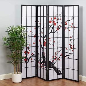Folding Wooden Frame 4 Panel Cherry Blossom Room Divider