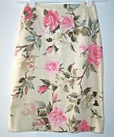 Brooks Brothers 346 Floral Skirt Women's 2 Stretch Rose Pattern Back Zipper