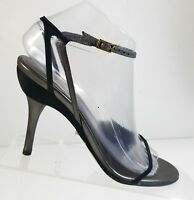 Gucci Women Black Strappy Leather High Heel Ankle Strap Slingback Sandals 37 C
