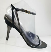 d2b0cadac01 Gucci Women Black Strappy Leather High Heel Ankle Strap Slingback Sandals  Sz 37C