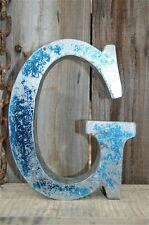 Medio stile vintage blu 3D G shop sign letter TIN Wall Art lettera font 8 pollici