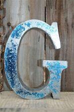 MEDIUM VINTAGE STYLE 3D BLUE G SHOP SIGN LETTER TIN WALL ART LETTER FONT 8 INCH
