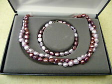 #173# Brand New Genuine Freshwater Pearl Pink Necklace & Bracelet Combo Pearls