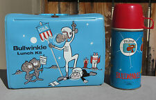 VINTAGE 1963 ROCKY & BULLWINKLE VINYL LUNCHBOX & THERMOS - THERMOS IS MINT!
