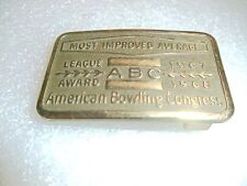 1967 1968 American Bowling Congress belt buckle Most Improved Average Award