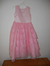GIRL'S SIZE 8 PINK SATIN DRESS W/MULTIPLE LAYERS BY SARA TOO    EUC