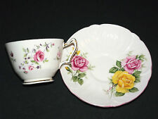 CROWN   STAFFORDSHIRE CUP AND SHELLEY SAUCER  FINE BONE CHINA- ENGLAND