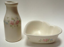 2 Piece Pfaltzgraff Tea Rose Pottery Milk Jug Container Heart Shaped Bowl Dish
