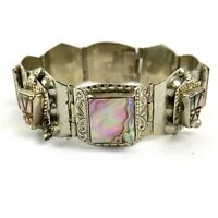 """Vintage Sterling Silver 925 Mexico Abalone Inlay Panel Bracelet Signed 7 1/4"""""""