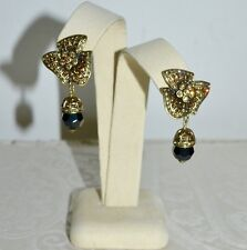 "New $120 HEIDI DAUS ""Designed to Dazzle"" Double Drop Earrings Clip on"