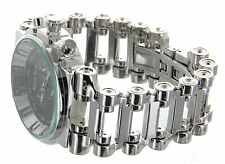 Jumbo Big Face White Gold  Finish Hi Hop Bicycle Chain Links Band Watch
