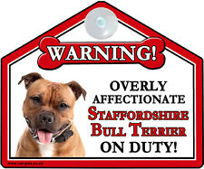 Staffordshire Bull Terrier RED Gift - Window suction sign - Novelty warning sign