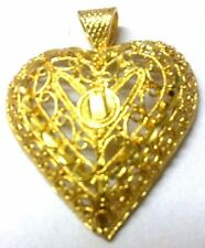 22K 23K 24K Yellow Gold Plated Indian Handcrafted Heart Locket in Brass Base