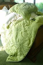 Soft Surroundings Bella Smocked Coverlet Palm Green King