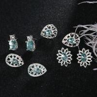 4pair Fashion Elegant Women Blue Crystal Rhinestone Ear Stud Earring Jewelry HOT