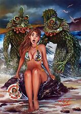 HORROR OF PARTY BEACH / LARGE SUPER HEAVYWEIGHT RICK MELTON FINE ART PRINT