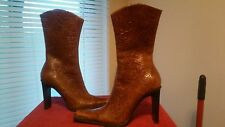 NEW STEVE MADDEN Cognac BRISA Block Heel Embossed TOOLED LEATHER  Boots sz 6B