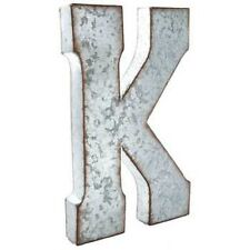 """Large 20"""" Silver Galvanized Vintage Metal Letter K Marquee"""