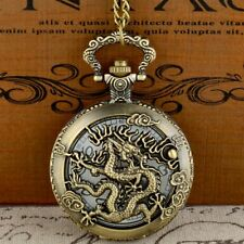 Retro Bronze Dragon Vintage Pocket Watch Quartz Chain Necklace Pendant Gift New