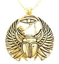 CLASSICAL EGYPTIAN AMULET GOLDEN SCARAB WINGS NECKLACE FASHION JEWELRY ALLOY