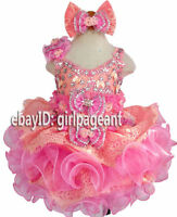 Infant/toddler/baby peach/pink glass Crystals beading  Pageant Dress G274
