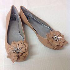 Gianni Bini Sz 7.5 Tan Beige Rosy CamelBallet Flats Flowered Toe & Spike Studs