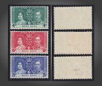1937 HOG KONG KRÖNUNG CORONATION KING GEORGE VI LH, VLH SC# 151-153 MI.136-138