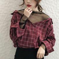 Women's Korean Style Autumn Plaid Pattern V Neck Casual Loose Top Blouse Shirt
