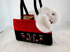 "OLLY & FRIENDS Plush 6""X7.5"" White PUPPY DOG in carrier Christmas design w Tag"