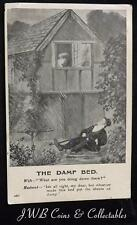 """Old Postcard of The Damp Bed, Wife - """"What Are You Doing Down There?"""" 1907"""