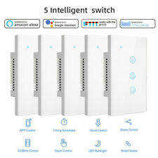 5PCS 1/2/3 Gang Home Smart WiFi Wall Light Switch Touch Panel For Alexa Google