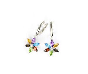 Echtschmuck Ohrringe Creolen Diamanten 14 K Weißgold AAA Multicolor Edelsteine