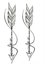 Waterproof Temporary Fake Tattoo Stickers Cool Grey Feather Arrow Design