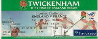England v France RWC warm up match 6 Sep 2003 Twickenham RUGBY TICKET