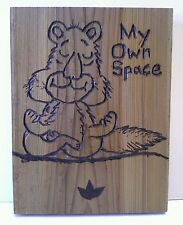 My Own Space Meditating Squirrel Wood Wall Plaque Original Art Recycled Wood