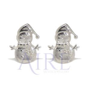 Genuine Sterling Silver Christmas Snowman Stud Earrings