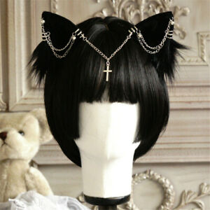 Gothic Girl Cat Ear Hair Clip with Cross Chain Halloween Headwear