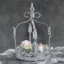 Vintage Krone Grau Metall Teelichthalter shabby Kerzenständer Landhaus Garten