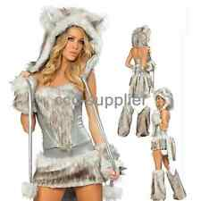 Women Sexy Wolf Costumes Halloween Furry Big Tail Cosplay Party Dress Silver
